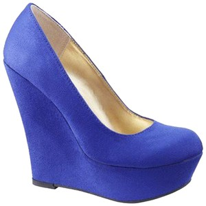 Mossimo Supply Co. Wedge Suede Target Target Cobalt Blue Platforms