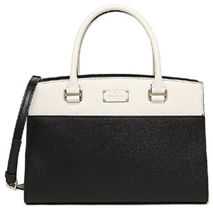 Kate Spade Crossbody Leather Caley Satchel in Black & White