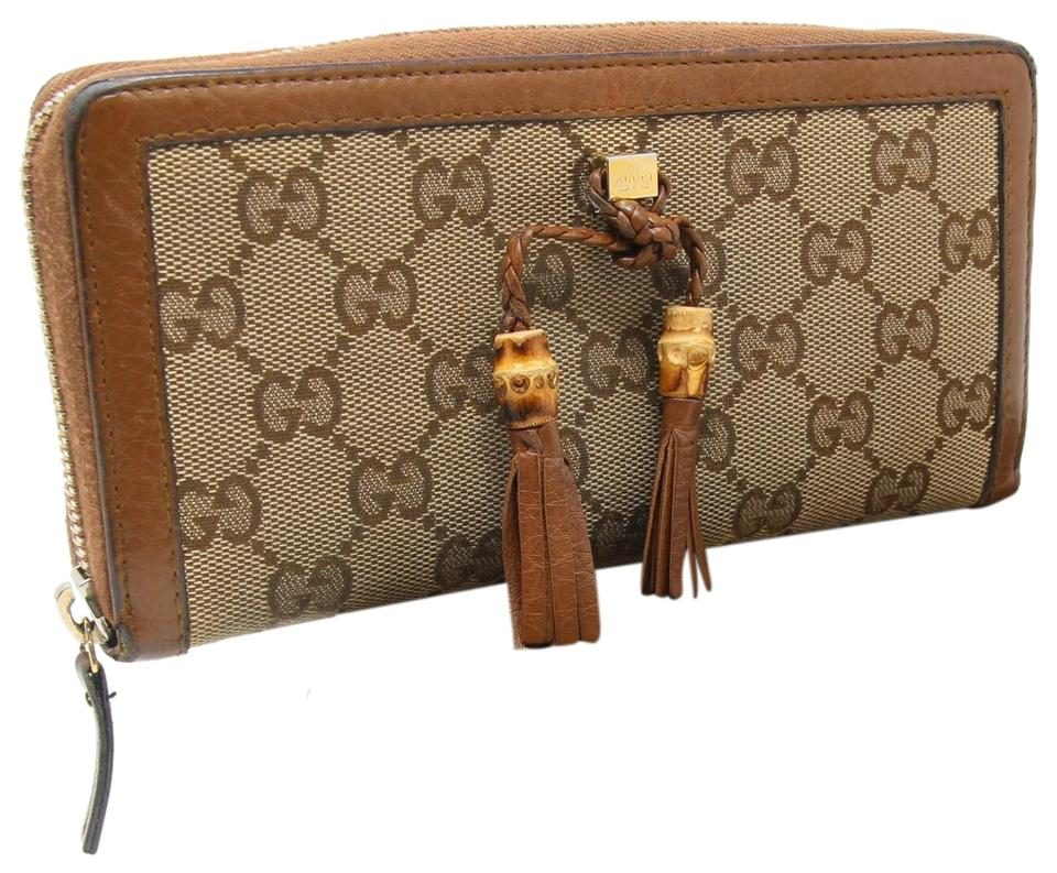 7c78b1782b22 Gucci Brown Signature Gg Canvas Bamboo Tassel Long Zippy Continental Wallet