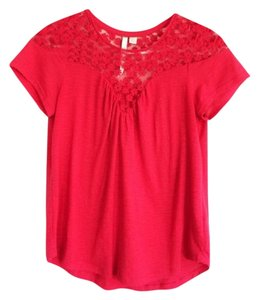 LC Lauren Conrad Lace Bright Sweetheart Floral Flowy Top red