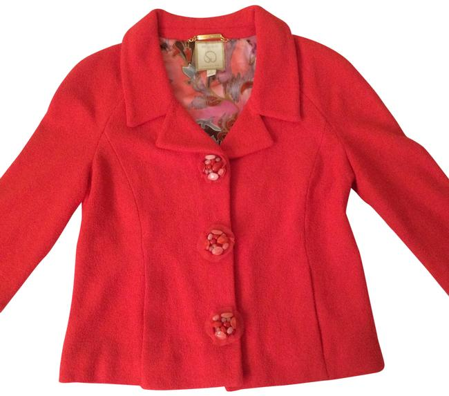 Item - Red Couture Elegant Bejeweled Knit Jacket Size 4 (S)