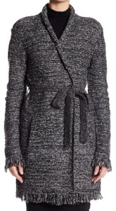 Velvet by Graham & Spencer Frayed Edges Wrap Knit Open Front Optional Tie Belt Warm + Cozy Cardigan