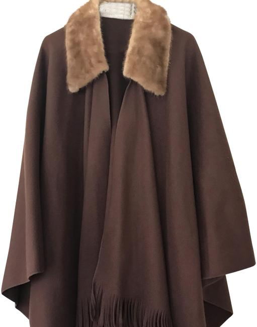 Item - Chocolate Brown with Sable Collar Poncho/Cape Size OS (one size)
