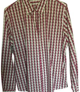 Foxcroft Top White, pink & black checkered print