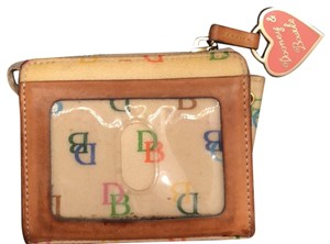Dooney & Bourke Wristlet in cream w/ multi DB