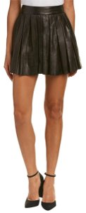 Alice + Olivia Leather Lambskin Pleated Mini Skirt Black