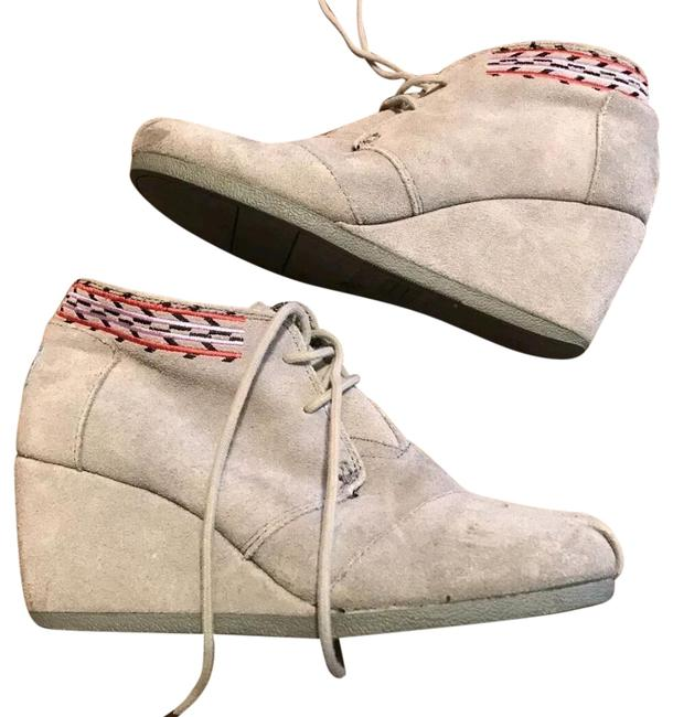 TOMS Gray Grey Suede Lace Up Wedges