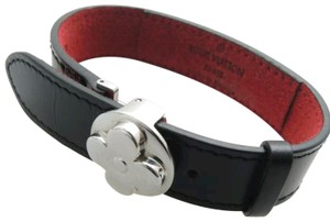 Louis Vuitton Louis Vuitton Black Leather Good Luck Flower Clasp Bracelet