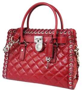 Michael Kors Quilted Leather Satchel in Red