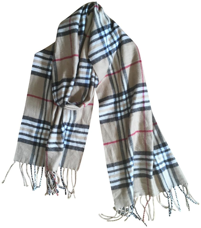 4c21c8783 Nordstrom Tan Black White Red Plaid Fringed Cashmere Scarf/Wrap ...