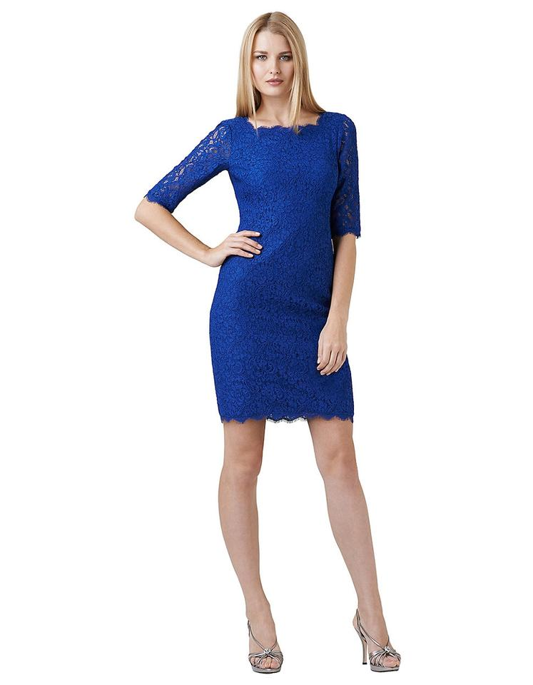 Adrianna Papell Prussian Blue V-back Overlay Sheath 3/4 Lace Sleeve ...