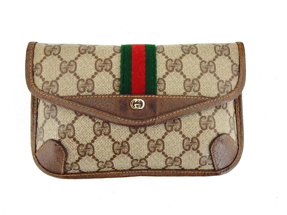 8b8aeb598c91e7 Gucci Rare Vintage Toiletry Travel Pouch Accessories Brown Web Gg ...