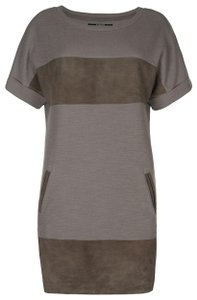 AllSaints short dress Natural Suede Cotton Leather on Tradesy