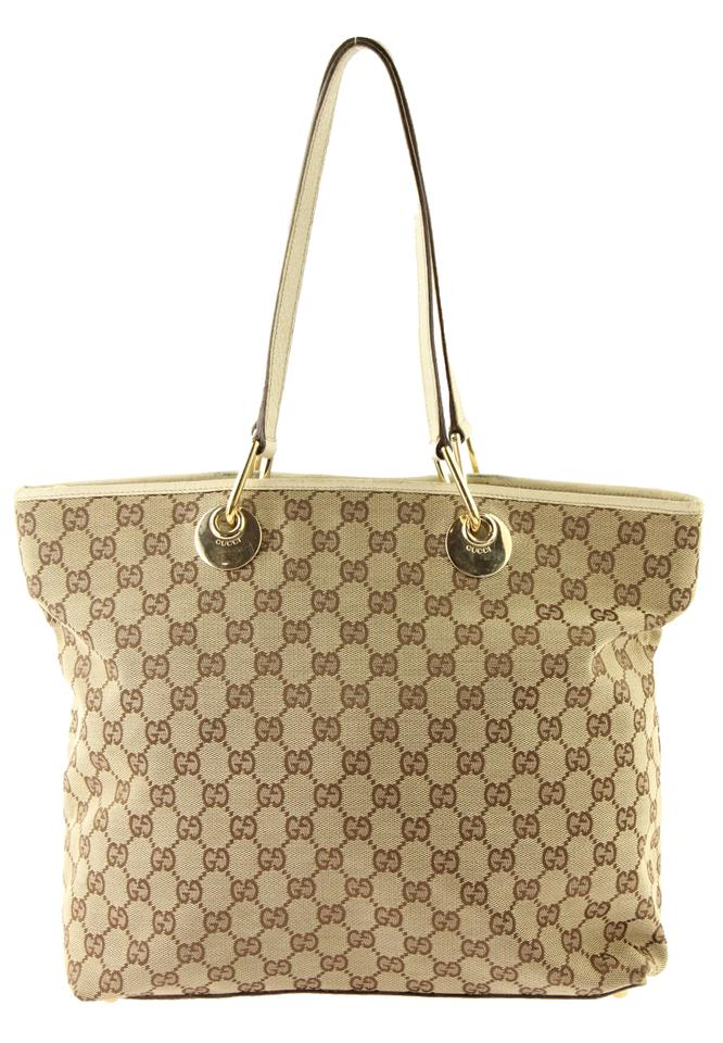 38af96925b50 Gucci Eclipse Beige and Brown Gg Canvas Tote - Tradesy