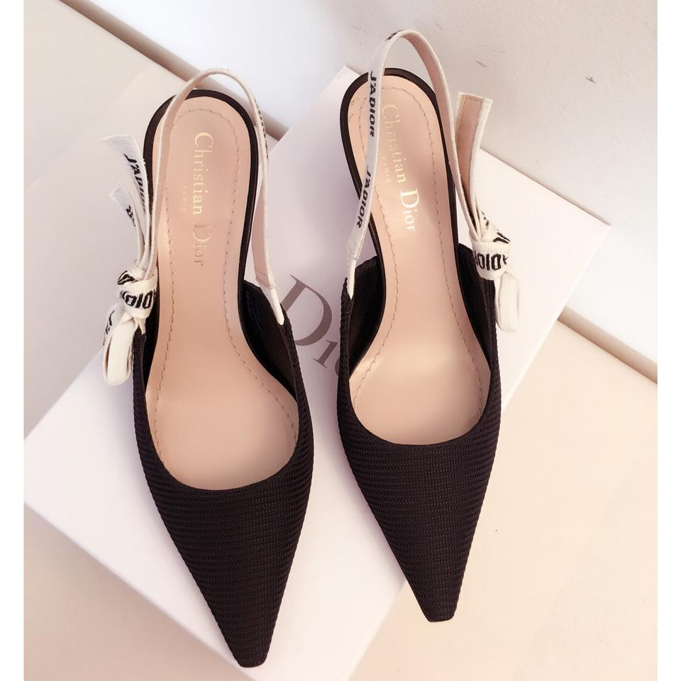 11ad5093d88 Dior Black   White Limited Edition J adior Slingback 65mm Heels Pumps Size  EU 38.5 (Approx. US 8.5) Regular (M