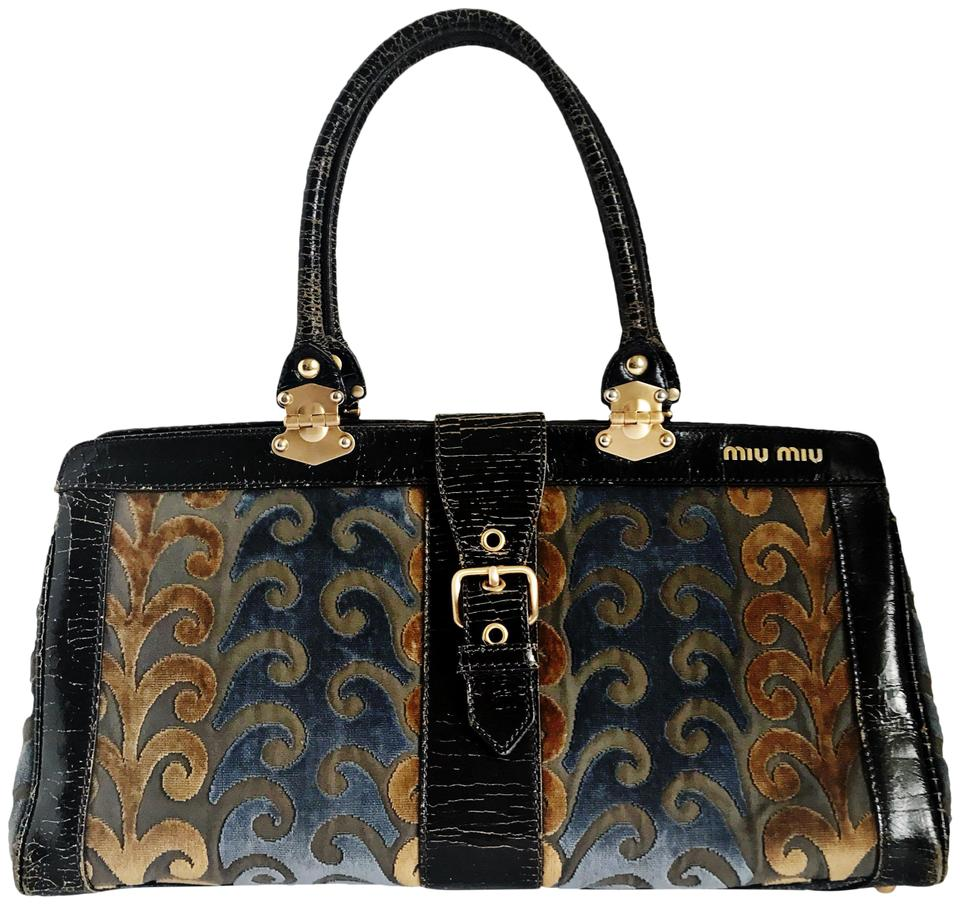 Miu Miu Taupe Blue Brocade Handbag Multi Color Velvet Shoulder Bag ... 68ed35a8fa6a2