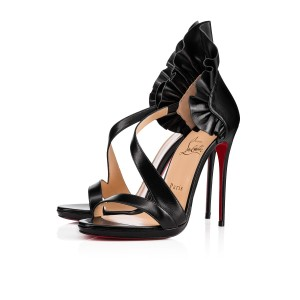 6ae6ea8dcfbcb Added to Shopping Bag. Christian Louboutin BLACK Sandals. Christian  Louboutin Black Colankle 120 Leather Heels Sandals Size EU 37.5 ...