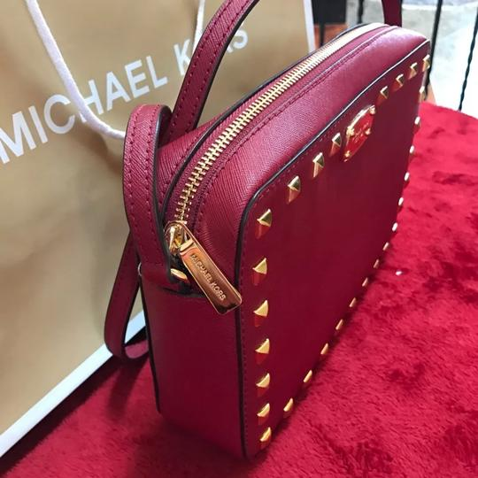 7911f507ea910b Michael Kors East West Studded Cherry Saffiano Leather Cross Body ...