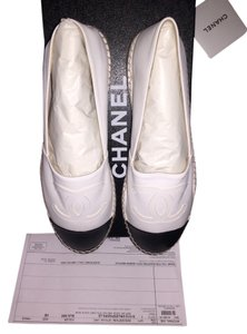 Chanel Espadrilles Lambskin Captoed White/black Flats