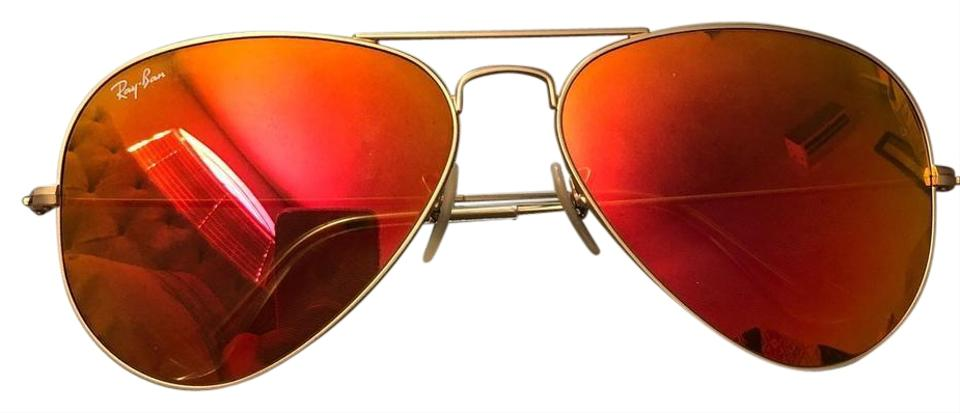 865910e254 Ray-Ban Gold with Orange Pink Red Mirror Lens Aviator Sunglasses ...