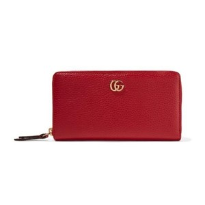 9151967fb9a Gucci Red Marmont Petite Leather Zip Around Wallet - Tradesy