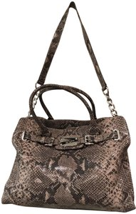 a6a3f84ffd23de Added to Shopping Bag. Michael Kors Laptop Convertible East West Snakeskin  Animal Tote in Dark Sand Beige Grey. Michael Kors Hamilton Large ...