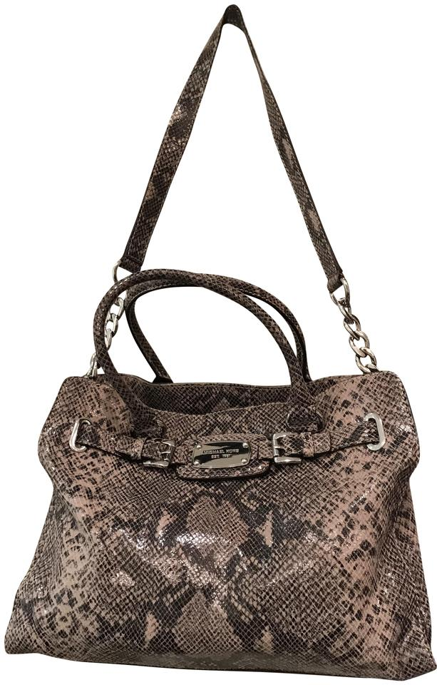 187e7dfcb978 Michael Kors Laptop Convertible East West Snakeskin Animal Tote in Dark  Sand Beige Grey Image 0 ...