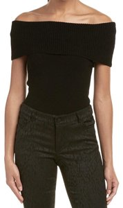 Alice + Olivia Wide Ribbed Band Wool Blend Super Versatile Top Black