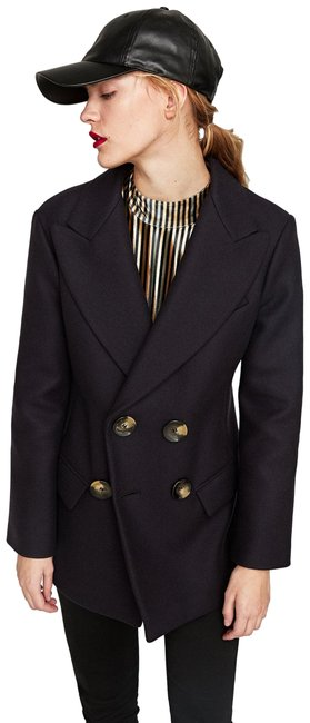 Item - Navy/Blue Short Double-breasted Coat Size 2 (XS)