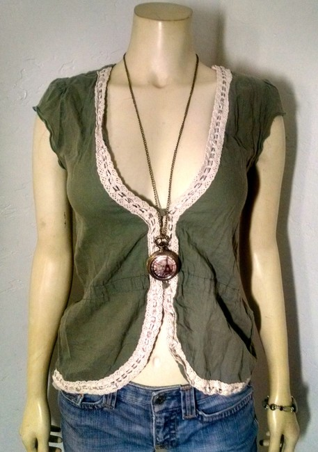 Love Squared P1347 Button Down Shirt olive green, ivory