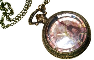 New Eiffel Tower Pocket Watch Necklace 32 Inches Antiqued Gold J812