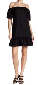 Love Ady short dress Black Off The Shoulder Ruffle Hem Elbow Length Sleeves Woven Fabric Versatile on Tradesy