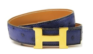 Hermès Hermes Reversible H Belt 60 in Blue Ostrich and Brown Leather
