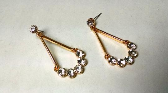 Other 14K Gold Filled Cubic Zirconia Dangle Earrings 1.5 Inch Tear Drop J813