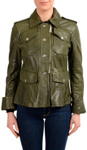 Just Cavalli Green Leather Jacket