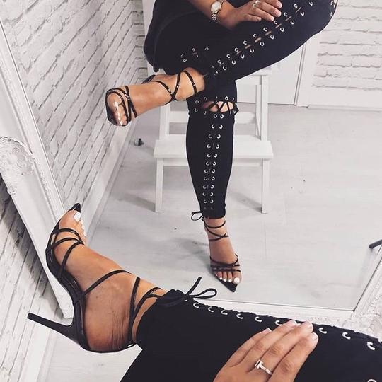 Ego Black Patent Kaia Pointed Barely There Heel Ysl Yves
