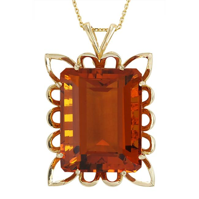 Item - Yellow 55.00 Carat Natural Citrine 14k Gold Necklace