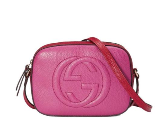d026e9844d8b gucci soho disco 431567 pink and red pebbled leather cross body bag 38% off  retail