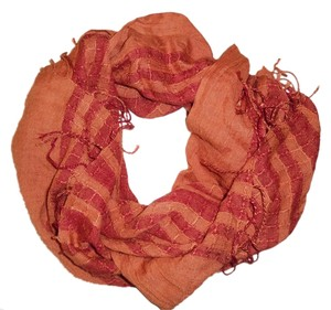 Unknown Orange & Red Striped Woven Boho Scarf
