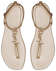 Saint Laurent Ysl Flat Metallic Gold Sandals