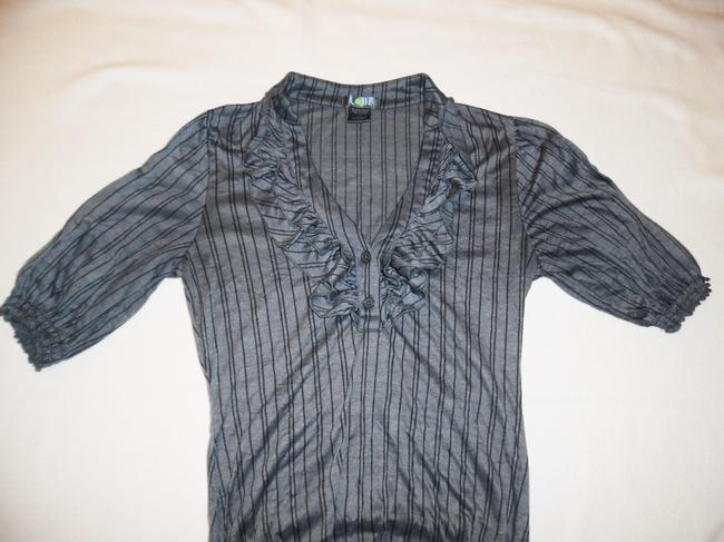 Lolli Swim Pinstripe Ruffles Buttons Stretchy Polyester Top Gray, Black