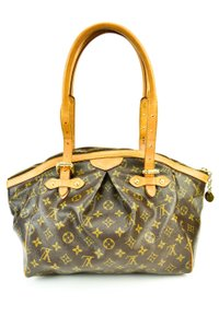 Louis Vuitton Leather Tote Lv Logo Shoulder Bag
