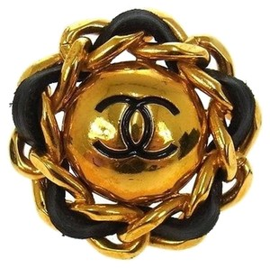 Chanel Authentic CHANEL Vintage CC Logos Jumbo Huge Chain Button Earrings Clip-On 93P France Accessories