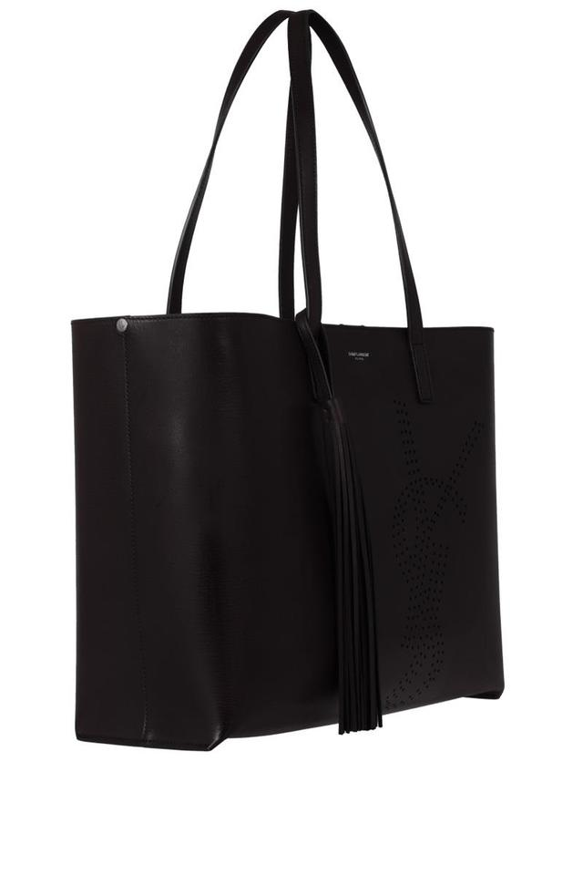 3b48913472a63 Saint Laurent Shopping Bag Tassel In Perforated Vintage Black Leather Tote