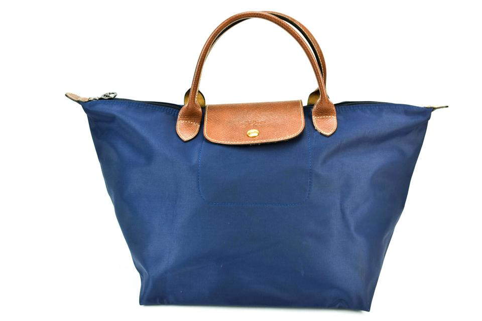 Tote amp; Navy Pliage Le Longchamp Leather Dark Medium Blue FTX87qw
