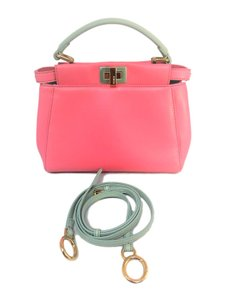 Fendi Peekaboo Leather Satchel in Pink Aqua Blue