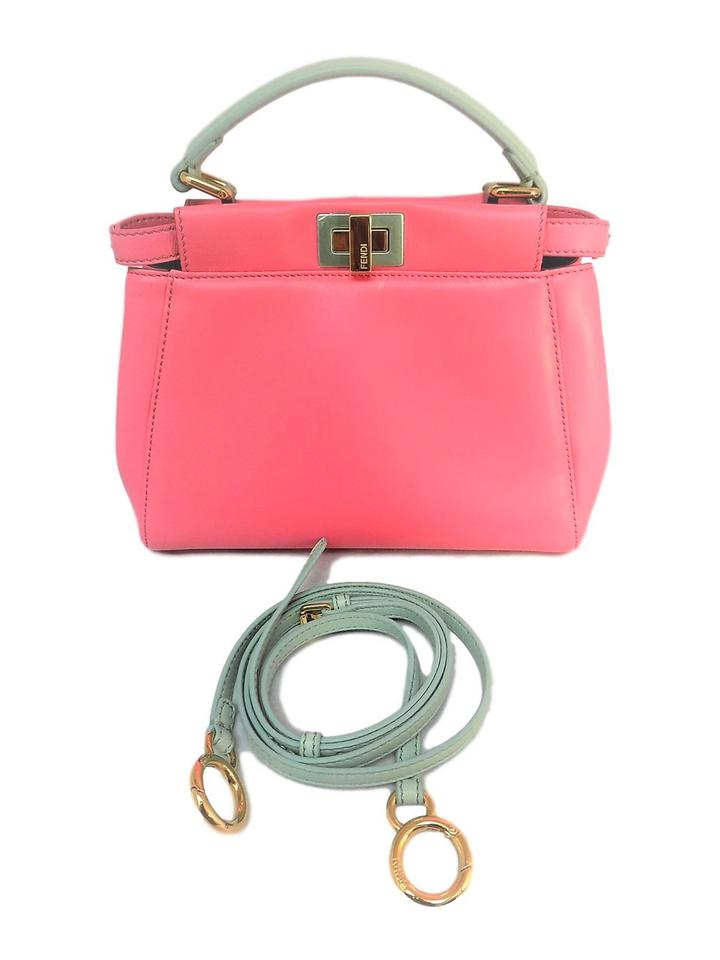 41cf9939706 Fendi Peekaboo Leather Satchel in Pink Aqua Blue Image 0 ...