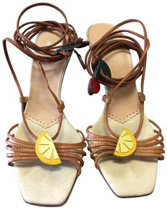 Moschino Brown, Tan, Red, Yellow Pumps