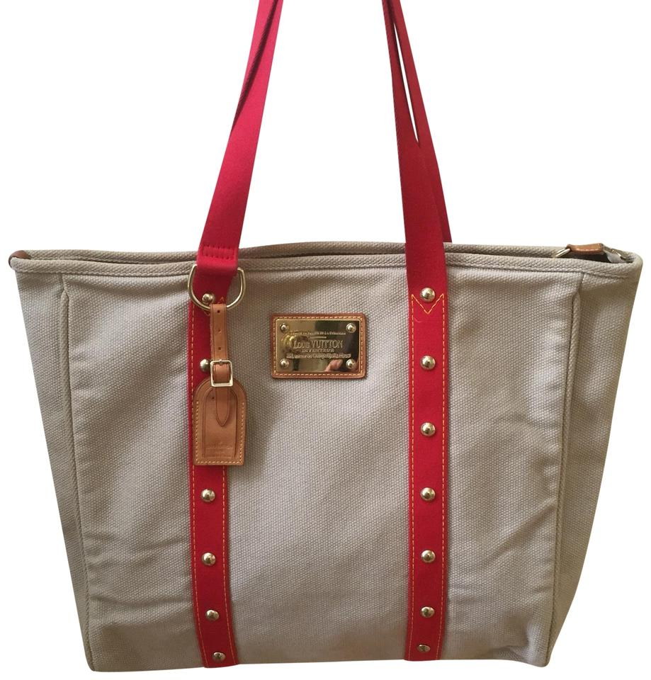 d37c44aaa14c Louis Vuitton Weekender Studded Cabas Gm Tote in Beige and Red Image 0 ...
