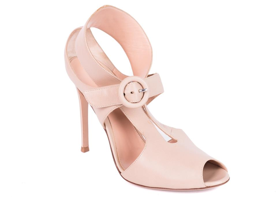 Gianvito Rossi Strap Nude Cut Out Buckled Strap Rossi Peep Toe Heel Pumps f1cf52